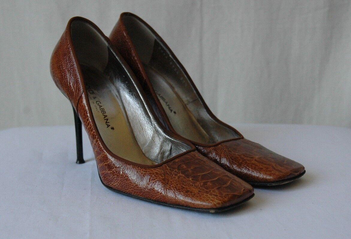 DOLCE & GABBANA Heel Brown OSTRICH High Heel GABBANA Pump 7.5-37.5 ae2692