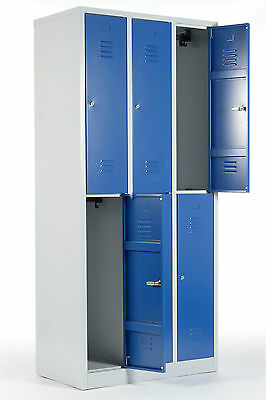 GroßZüGig Kleiderspind 2x3 Abteile 6 Fächer Metallspind Metallspint Spind Doppelspind Blau Büro & Schreibwaren