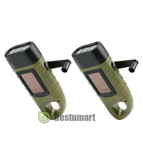 2xSolar Powered Hand Crank Flashlight Rechargeable LED with Clip Emergency Light