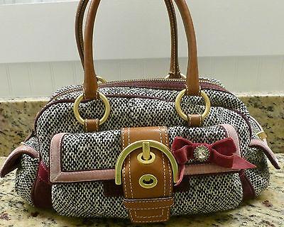 RARE COACH TWEED POCKET BOW SATCHEL #8F03 12x5x6 BEAUTIFUL tote purse dust bag