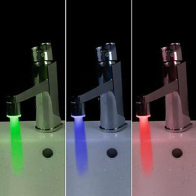 HOT SALE! Auto Changed Flashing LED Faucet Light Glow Temperature Sensor 3 Color