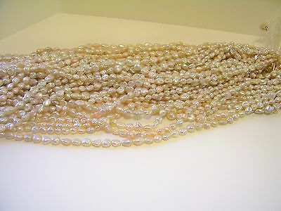 5032 7 MM QUALITY HIGH LUSTER BAROQUE FRESHWATER KESHI PEARL JEWELRY BEAD STRAND