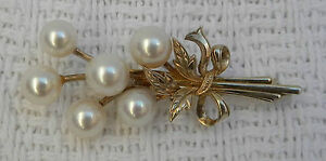 MIKIMOTO-Pearl-Brooch-Tokyo-Gold-Sterling-Silver-Floral-Spray-Vintage-1950s
