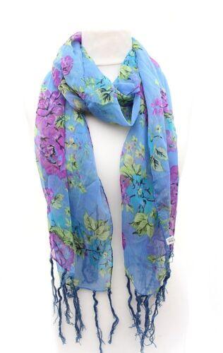 100/% Polyester grosse Blüten Damen Tuch Schal Halstuch Stola blau//lila//grün