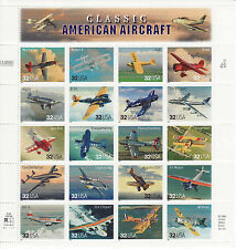 CLASSIC AMERICAN AIRCRAFT STAMP SHEET -- USA #3142A-3142T, 32 CENT 1997