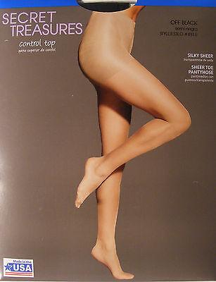 Pantyhose & Tights Control Top Pantyhose Silky Sheer Leg Sheer Toe Secret Treasures