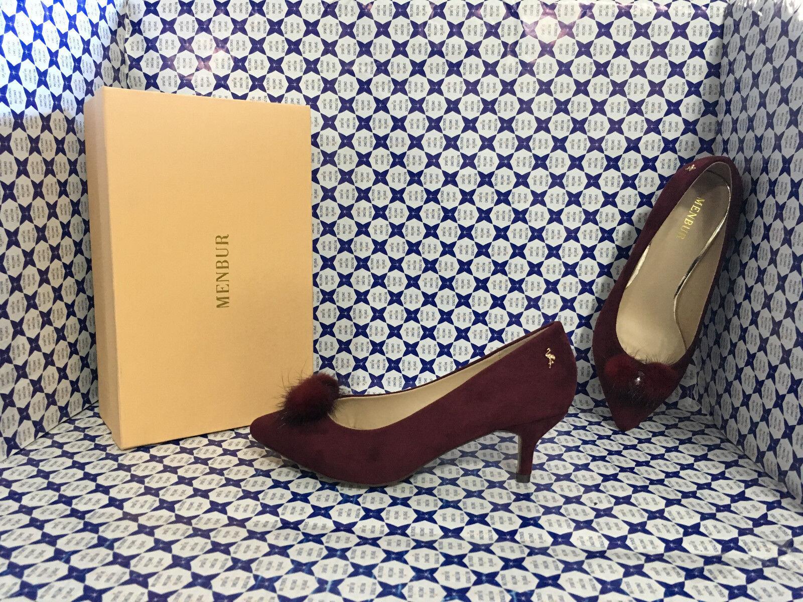 chaussures Menbur femmes - Decoltè Scamosciata Pon Pon Pelliccia - Bordeaux - 7792