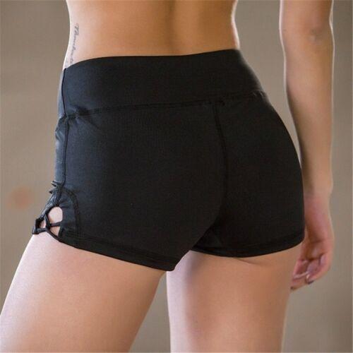 Fashion Élastique Sport Yoga Gym Shorts Femmes Yoga Shorts Black Beach Wear Dance