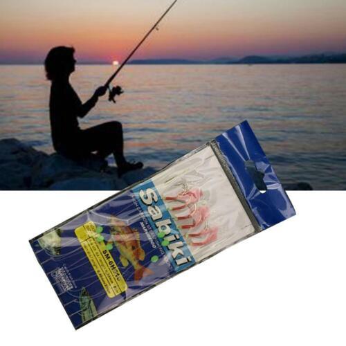 6Pcs Sabiki Rig Real Fish Skin Saltwater Fishy Smell Luminous Fishing New R M8G7