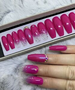 Pink Beauty Glitter Ombre False Fake Extra Long Coffin Nails Set Ebay