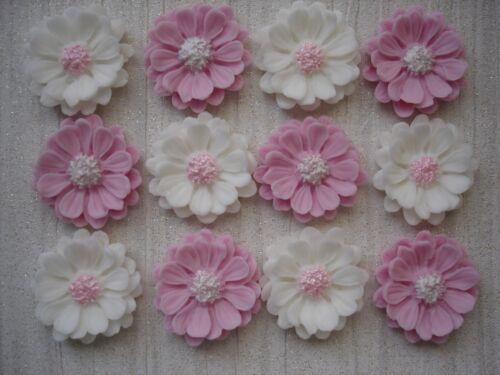 12 edible Baby pink /& white flowers,fondant cupcake toppers,wedding,birthday