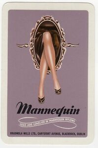 Playing-Cards-Single-Card-Old-MANNEQUIN-STOCKINGS-NYLONS-Ladies-Legs-Advertising