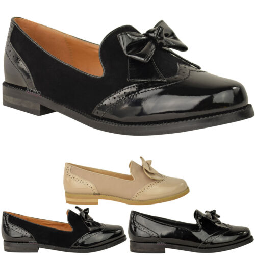 WOMENS LADIES LOAFERS SHOES FLATS BOW FORMAL WORK OFFICE SMART SCHOOL PUMPS SIZE