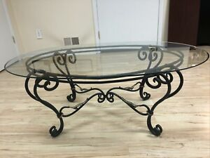 Broyhill Wrought Iron And Gold Leaf Glass Top Coffee Table Barely Used Ebay