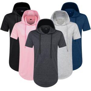 Mens-Hipster-Hip-Hop-Extended-Pullover-Short-Sleeve-Hoodies-Side-Zipper-T-Shirt