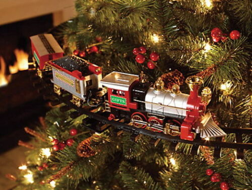 Christmas Tree Train.Details About Lighted Sound Animated Christmas Tree Train Set Mount To Tree Or Run On Floor