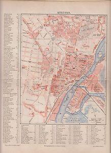1890 Poland Stettin City Plan Antique Map Ebay