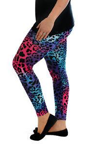 New-Womens-Leggings-Plus-Size-Ladies-Full-Length-Neon-Leopard-Multi-Nouvelle