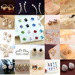 Fashion-Women-Elegant-Crystal-Rhinestone-Pearl-Flower-Ear-Stud-Earrings-Jewelry