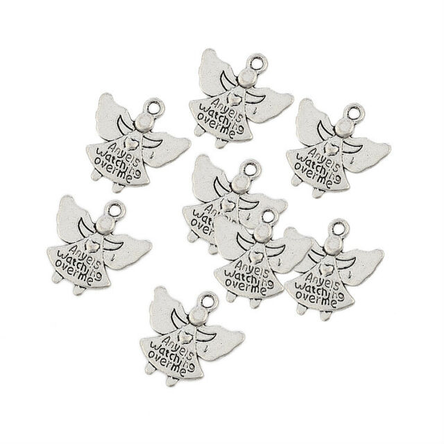 angels watching over me Tibetan Silver Bead charms Pendants 10pcs 18*18mm