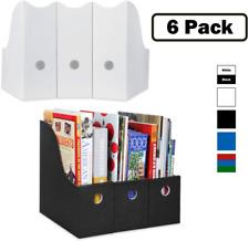 Magazine File Holder Set Of 6 3 White 3 Black Sturdy Cardboard Magazine Hol