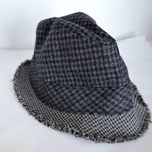 c7a6b0ca533 J. Crew Men S M Fedora Gray Plaid Tweed 100% Wool Hat Cap Lined ...