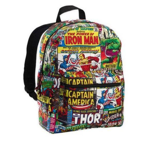 "Avengers Marvel Comic Comics Print Backpack 16"" Kawaii School Bag NEW Thor Hulk"