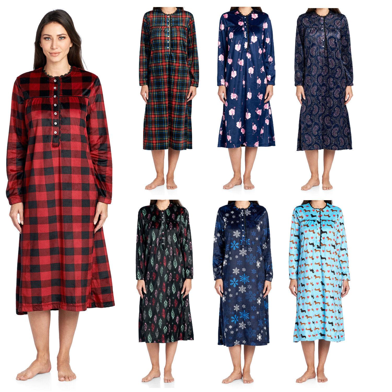 Ashford & Brooks Women's Fleece Long Sleeve Nightgown Lounger Sleep Robe Dress