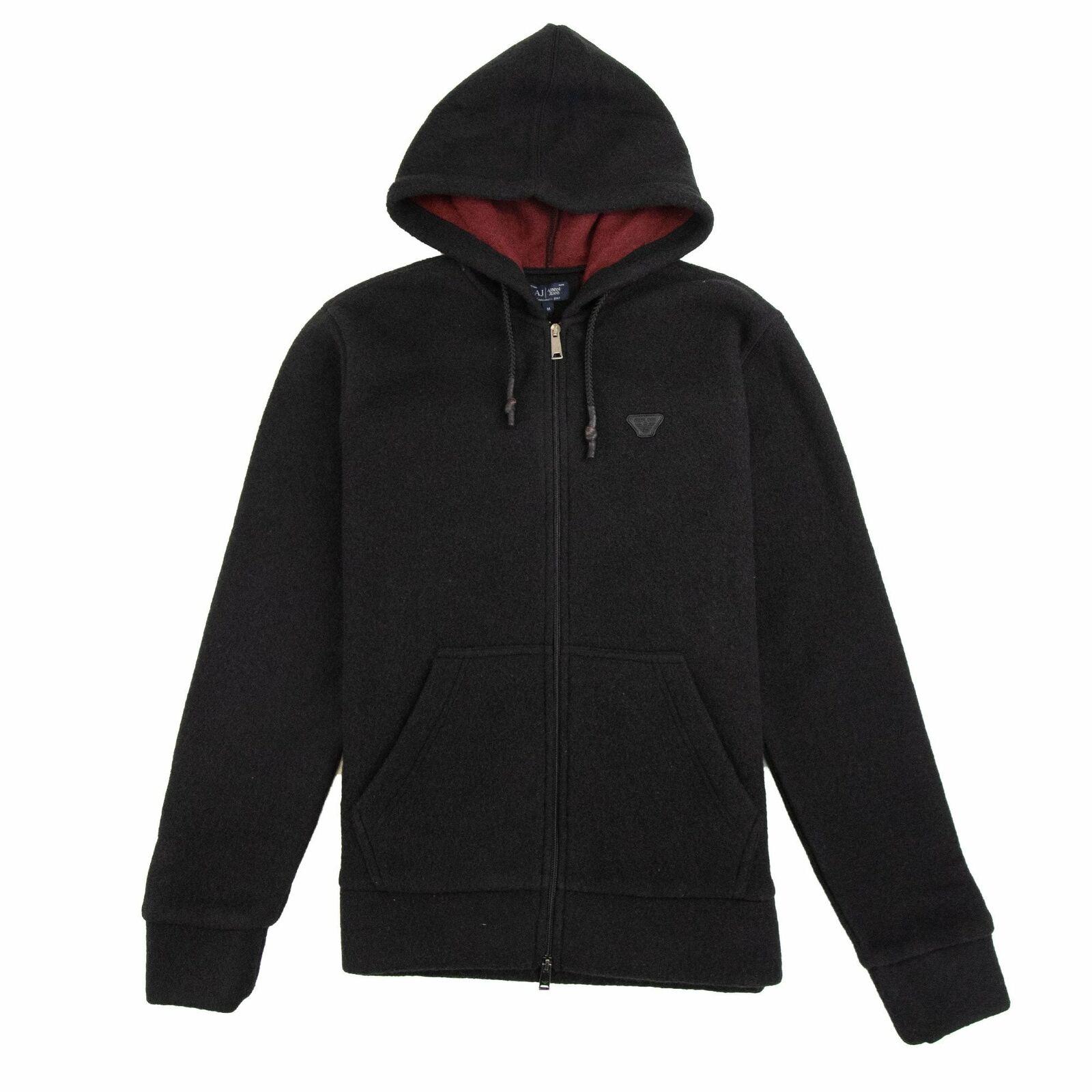 Armani Jeans Fleece Leather Logo Hoody Dark Grey DS1