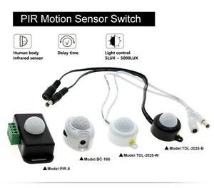 140° LED Mini-PIR Einbau Bewegungsmelder Körper Infrarot Sensor Schalter DC