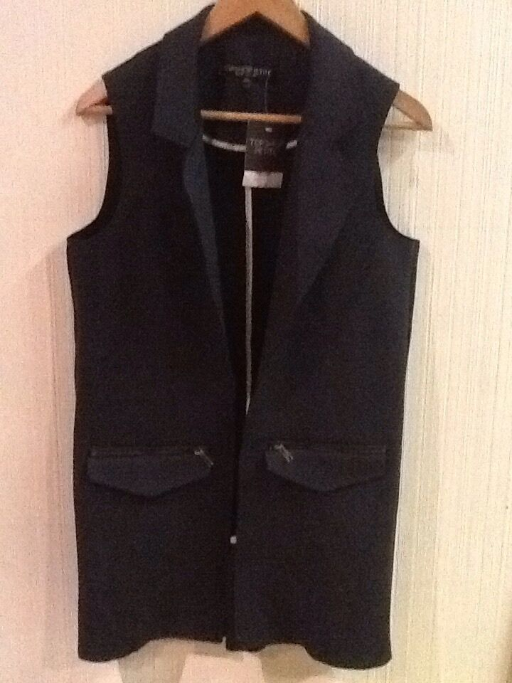 NWT TOPSHOP PETITE Long Navy bluee open front Vest (US 2) New
