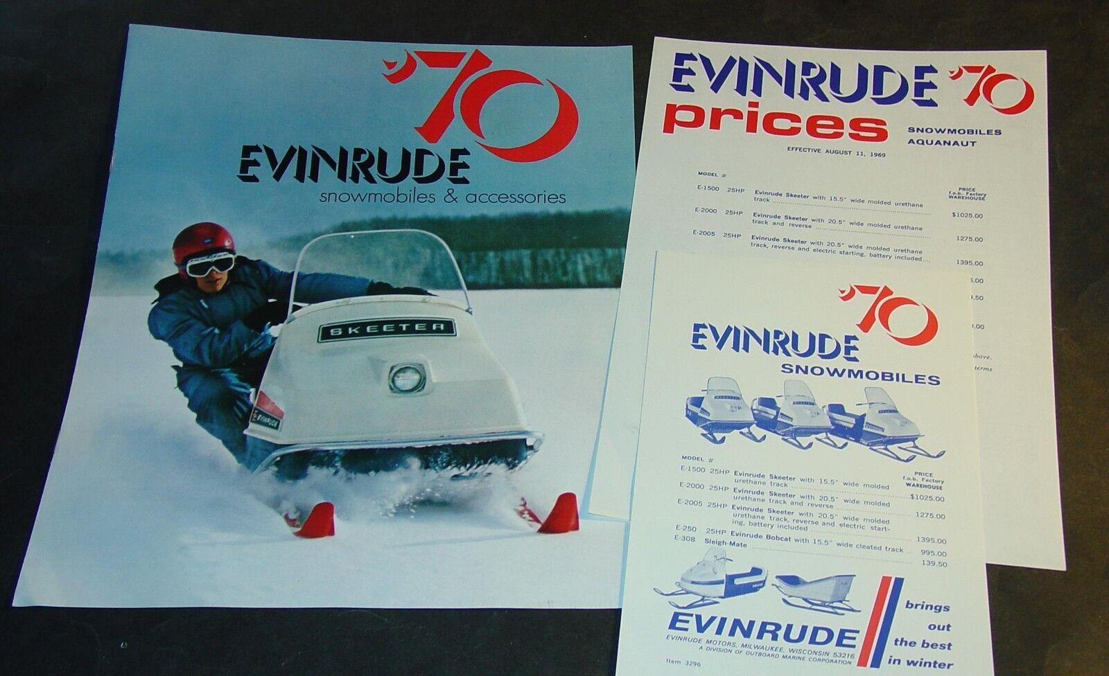VINTAGE  1970 EVINRUDE FULL LINE SNOWMOBILE SALES BROCHURE & 2 SALES PRICE SHEETS  cheap designer brands