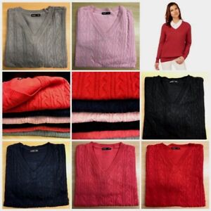 LADIES-WOMENS-V-NECK-CABLE-KNIT-LONG-SLEEVE-KNITTED-JUMPER-SWEATER-TOP-QUALITY