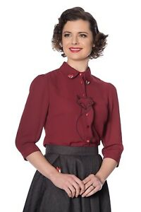 Women-039-s-Burgundy-Fox-Retro-Vintage-Rockabilly-Foxy-Blouse-Shirt-Banned-Apparel