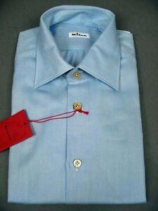 visgraat blauw katoenen overhemd Kiton Nieuw licht qtwExWSpa