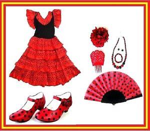80a8f0170b8c La imagen se está cargando Conjunto-Traje-zapatos-Complementos-De-Flamenca -para-nina-