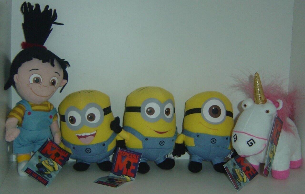 5 X Despicable Me plush toys Agnes, Unicorn
