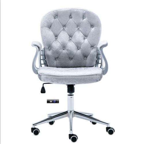 Grey//Pink Velvet Adjustable Hight Computer Chair Seat With Wheel Desk Simple NEW