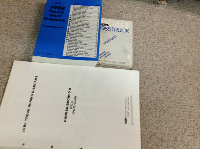 1988 Ford Ranger  U0026 Bronco Ii Service Shop Repair Manual