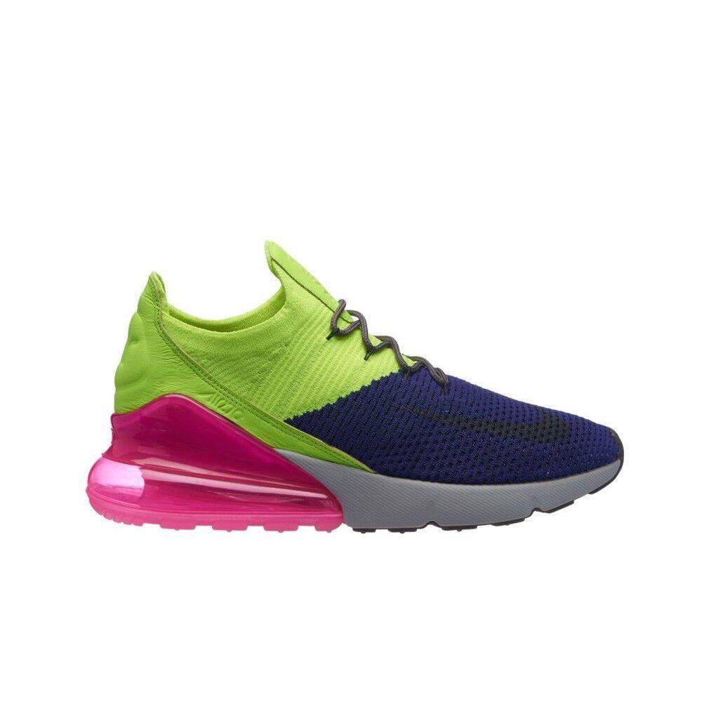 more photos e1a4a a161e Nike Air Max 270 Flyknit Regency Purple Grey Volt Ao1023-501 Men's Size 8.5