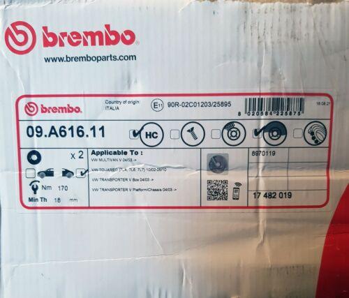 BREMBO ARRIÈRE 09.A616.11 Disque de frein Set Inutilisé