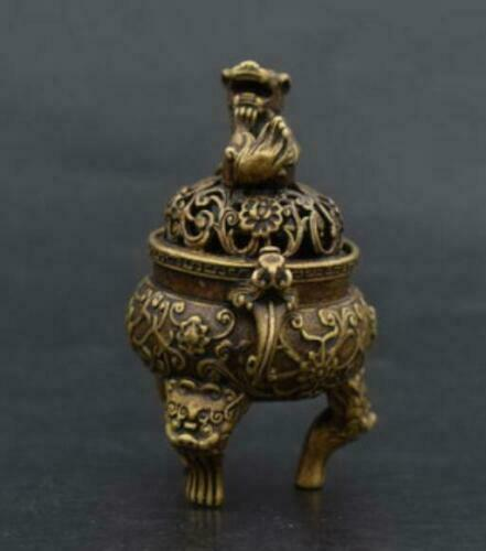 China/'s Old Handwork pure brass Beast head small Incense burner