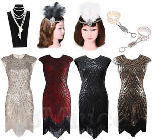Vintage Charleston 1920/'s Gatsby Downton Sequin Tassel Party Dress 6 Colors