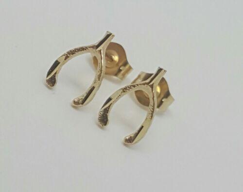 14k Solid Yellow Gold Wishbone Good Luck Stud Earrings Push Back 9MM
