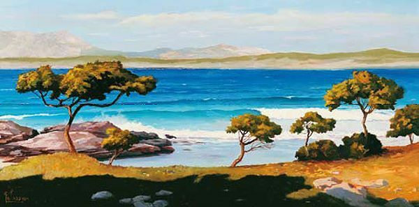 Adriano Galasso  Spiaggia del Mediterraneo Keilrahmen-Bild Leinwand Strand Meer