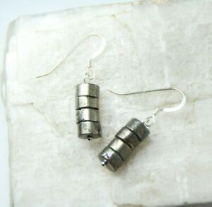 Pyrite-Cylinder-Shape-Gold-Natural-Gemstone-925-Sterling-Silver-Earrings-1-1-4-034