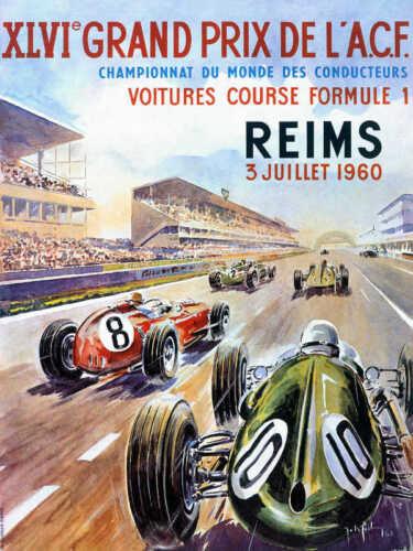 VINTAGE 1960 REIMS GRAND PRIX AUTO RACING POSTER PRINT 24x18