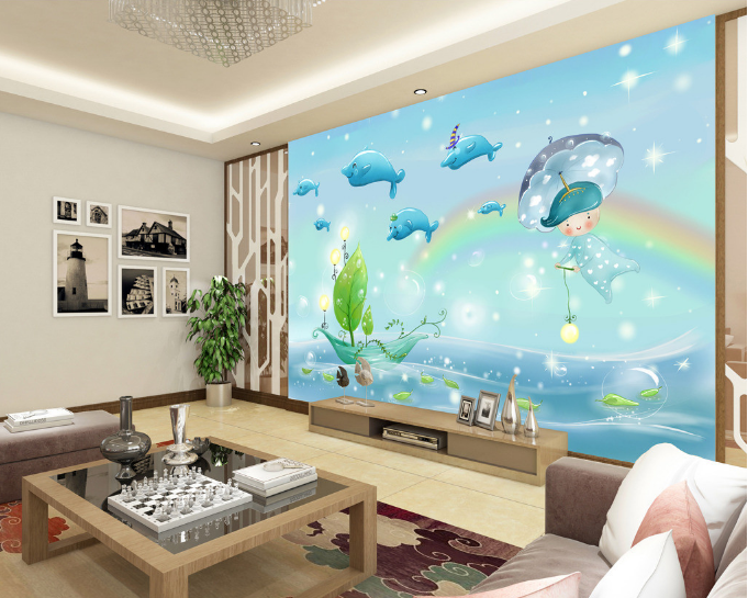 3D Cartoon Dolphins 4106 Paper Wall Print Wall Decal Wall Deco Indoor Murals