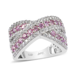 925-Sterling-Silver-Platinum-Over-Pink-Sapphire-Zircon-Cluster-Ring-Gift-Ct-2-1