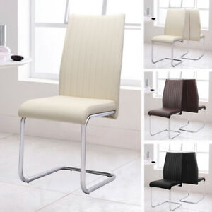 Fine Details About Faux Leather Pu Dining Chairs Ribbed Back Chrome Leg Living Room Home Restaurant Evergreenethics Interior Chair Design Evergreenethicsorg